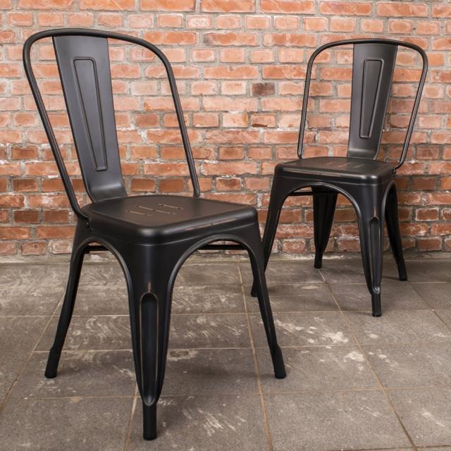 【Bernice】亞歷仿舊復刻工業風鐵椅餐椅-四入組合(四色可選)