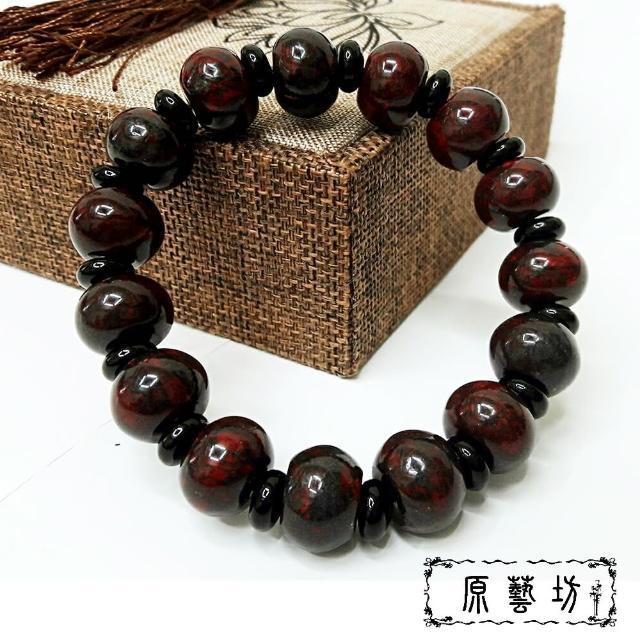 【原藝坊_12H】雞血石開運圓珠手鏈(直徑約14mm)
