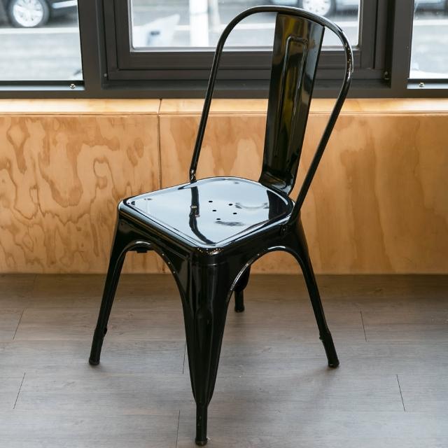 【Ashley House】Loft 英式工業簡約造型高背鐵椅(休閒椅 - 餐椅)