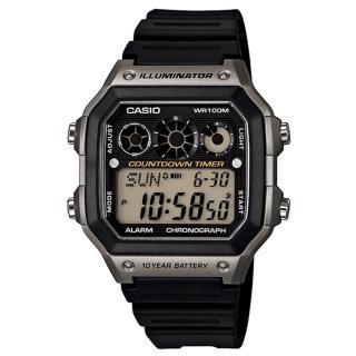 【CASIO】十年電池數位錶-銀框(AE-1300WH-8A)   CASIO 卡西歐