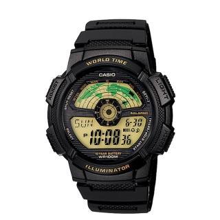 【CASIO】飛行時光地圖錶-黃面(AE-1100W-1B)  CASIO 卡西歐