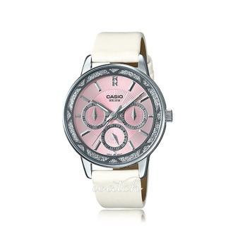 【CASIO 卡西歐】名媛首選_皮革錶帶_礦物玻璃_三眼顯示_指針女錶(LTP-2087SL)  CASIO 卡西歐