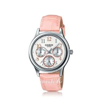 【CASIO 卡西歐】日系經典-三眼_皮革錶帶數字淑女錶_鏡面3.cm(LTP-E306L)   CASIO 卡西歐