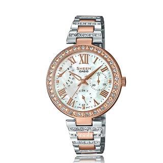 【CASIO 卡西歐 SHEEN 系列】施華洛世奇_不鏽鋼錶帶_玫瑰金_日期顯示_女錶(SHE-3043SPG)   CASIO 卡西歐