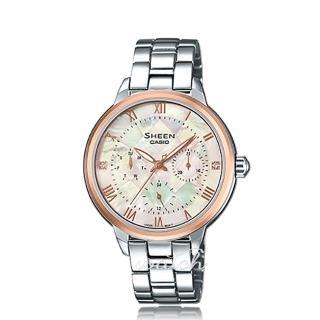 【CASIO 卡西歐 SHEEN 系列】珍珠母錶面_不鏽鋼錶帶_三眼顯示_氣質女錶(SHE-3055SG)  CASIO 卡西歐