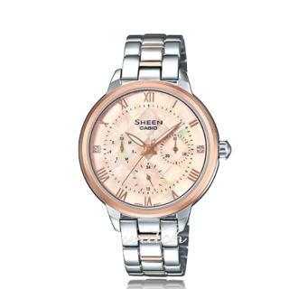 【CASIO 卡西歐 SHEEN 系列】珍珠母錶面_不鏽鋼錶帶_三眼顯示_氣質女錶(SHE-3055SPG)  CASIO 卡西歐