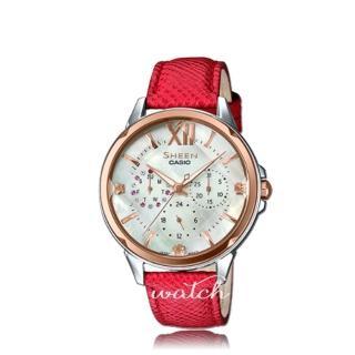 【CASIO 卡西歐 SHEEN 系列】珍珠母錶面_皮革錶帶_三眼顯示_指針女錶(SHE-3056GL)  CASIO 卡西歐