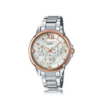 【CASIO 卡西歐 SHEEN 系列】珍珠母錶面_不鏽鋼錶帶_玫瑰金_三眼顯示_指針女錶(SHE-3056SG)   CASIO 卡西歐