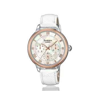 【CASIO 卡西歐 SHEEN 系列】優雅珍珠母錶面_皮革錶帶_三眼顯示_指針女錶(SHE-3057PGL)  CASIO 卡西歐