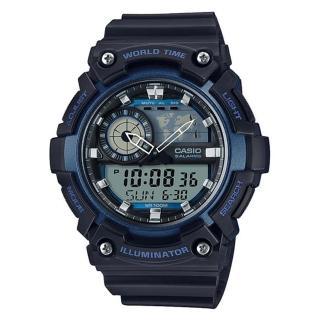 【CASIO】科技數位世界時間概念造型雙顯錶-藍(AEQ-200W-2A)   CASIO 卡西歐