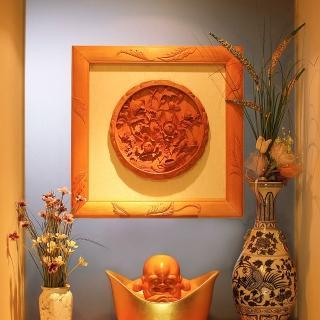 【MU LIFE 荒木雕塑藝品】富貴長青浮雕圓盤(檜木)  MU LIFE 荒木雕塑藝品