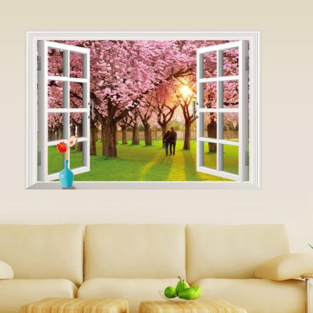 【半島良品】DIY無痕創意牆貼壁貼-假窗櫻花樹下_AY9234E(無痕壁貼 牆貼 壁貼紙 創意璧貼)