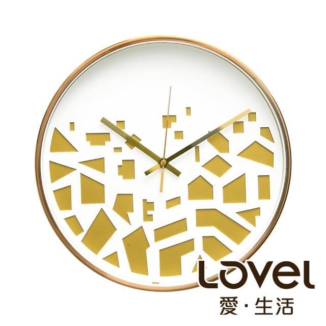 【LOVEL】3D立體古銅金框靜音時鐘-碎片紋(M721RY-WG)