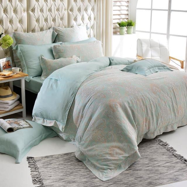 【義大利La Belle】雙人天絲防蹣抗菌吸濕排汗兩用被床包組(蘿蔓微光)