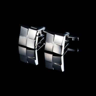 【拉福】高檔立方塊紋襯衫袖扣(銀色)   拉福