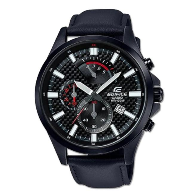【CASIO 卡西歐】沉穩時尚_三眼顯示_皮革錶帶_礦物玻璃_指針男錶(EFV-530BL)