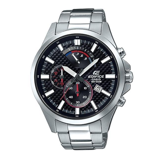 【CASIO 卡西歐】沉穩時尚_三眼顯示_不鏽鋼錶帶_礦物玻璃_指針男錶(EFV-530D)