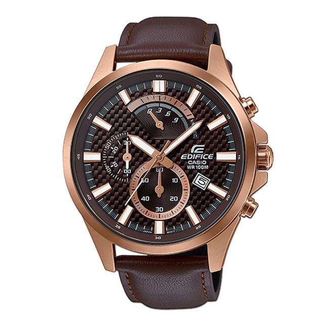【CASIO 卡西歐】沉穩時尚_三眼顯示_皮革錶帶_礦物玻璃_鍍金錶殼_指針男錶(EFV-530GL)