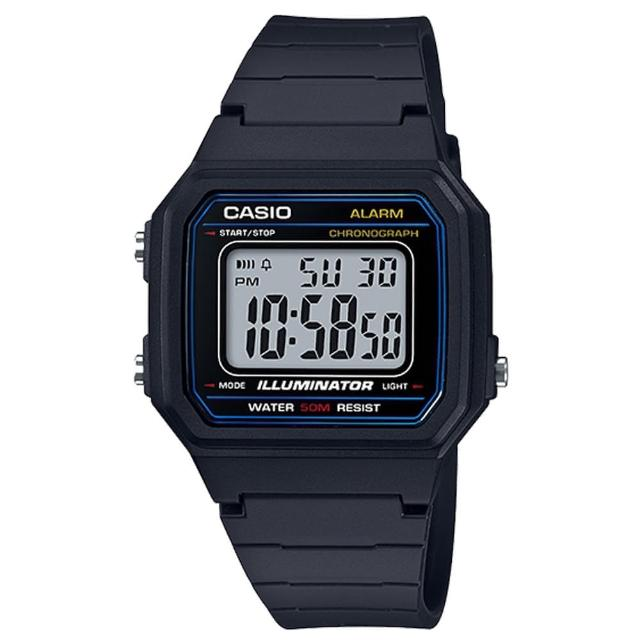 【CASIO 卡西歐】復古造型_橡膠錶帶_超亮LED照明_電子錶(W-217H)