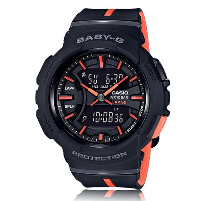 【CASIO卡西歐BABY-G系列】運動首選_圈速測量_雙色錶帶_防水_雙顯女錶(BGA-240L)