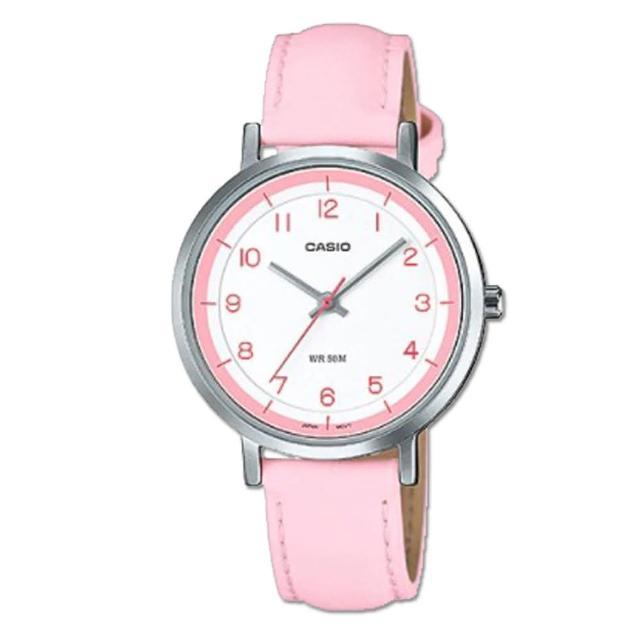 【CASIO 卡西歐】時尚可愛_皮革錶帶_礦物玻璃鏡面_指針女錶(LTP-E139L)