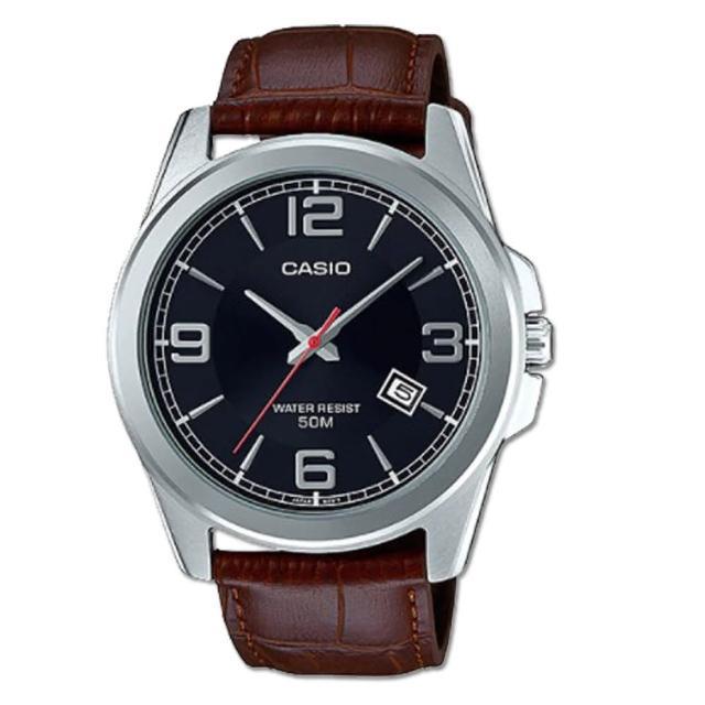 【CASIO 卡西歐】紳士時尚_皮革錶帶_日期顯示_礦物玻璃鏡面_指針男錶(MTP-E138L)