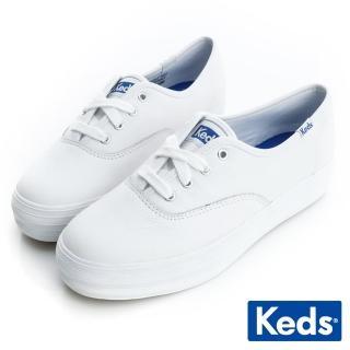 【Keds】Keds 品牌經典厚底皮質綁帶休閒鞋(白)  Keds