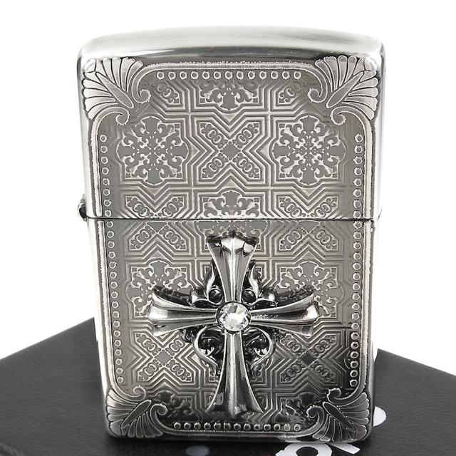 【ZIPPO】日系-Cross Metal -十字鑲鑽金屬貼飾蝕刻加工打火機