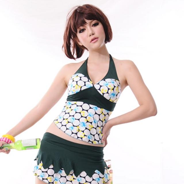 【Lady c.c.】歡樂圈圈狩獵裙襬兩件套泳裝(綠)