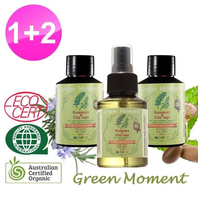 【Green Moment 自然奇機】健髮-迷迭香能量豐盈頭皮養護露80m-1+洗髮露-迷迭香豐盈85ml-2