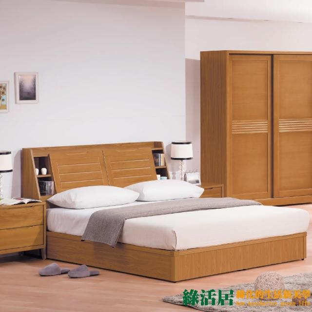 【綠活居】凱諾    環保6尺實木雙人加大三件式床台組合(床頭箱+床底+天絲抗菌獨立筒床墊)