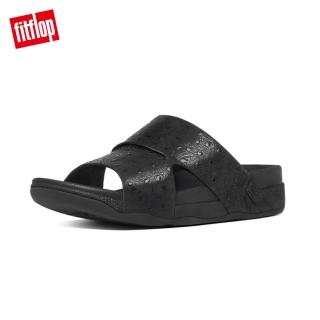 【FitFlop TM】男款-BANDO TM LEATHER SLIDES OSTRICH(黑色)