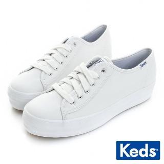 【Keds】個性時尚厚底綁帶皮質休閒鞋(白色)   Keds