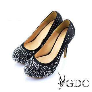 【GDC】幸福婚鞋-璀璨亮麗水鑽高跟鞋-黑色(227292)  GDC