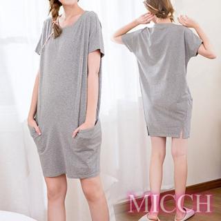 【MICCH】Basic動靜之間 素雅棉質小開岔短袖休閒連身裙*灰  MICCH