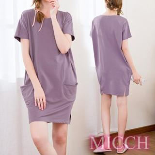 【MICCH】Basic動靜之間 素雅棉質小開岔短袖休閒連身裙*紫   MICCH