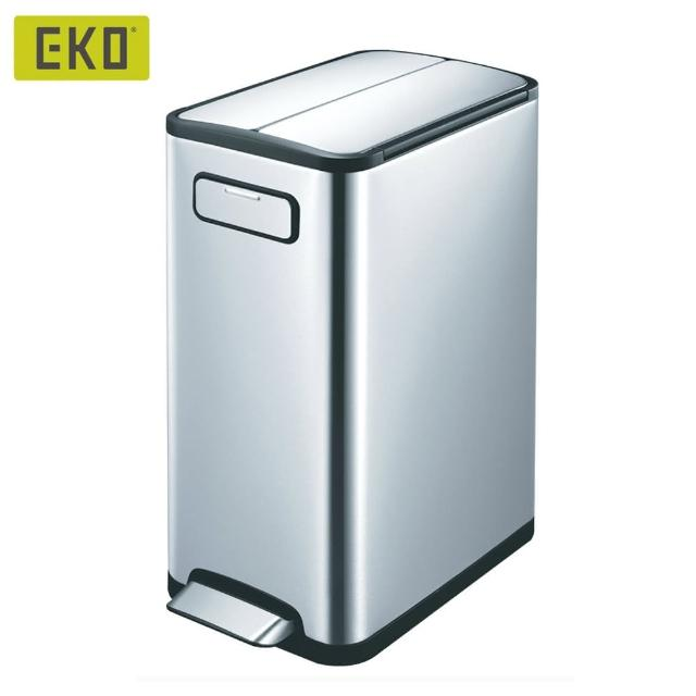 【EKO】雙開蓋蝶韻靜音垃圾桶20L(居家-客廳-廚房-衛浴-收納桶-不鏽鋼垃圾桶-緩降垃圾桶-回收桶)