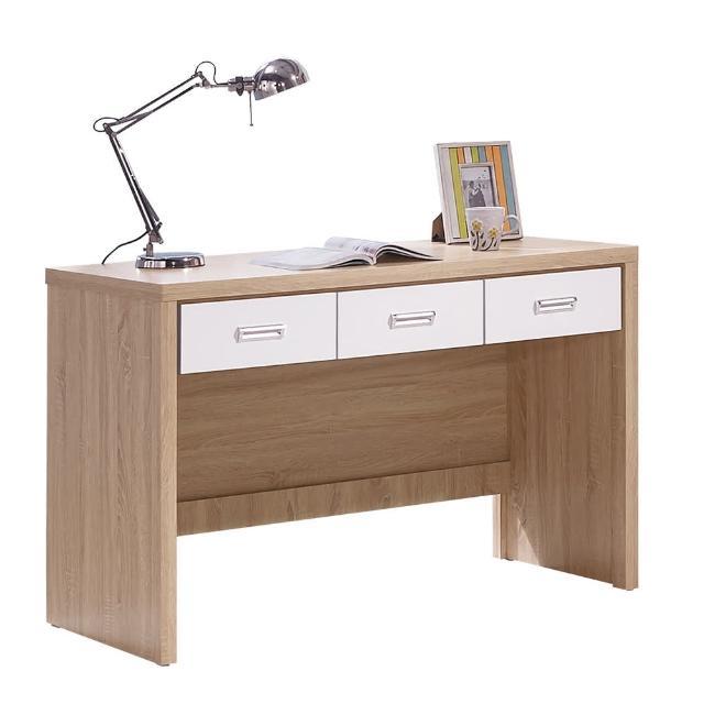 【顛覆設計】佳迪辛4尺橡木白三抽書桌