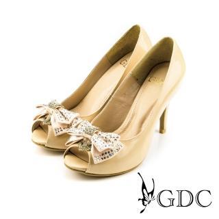 【GDC】璀璨亮面蝴蝶結鑽飾魚口高跟鞋-杏色(317107)   GDC