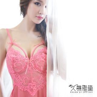 【久慕雅黛】美腰鏤空花朵蕾絲薄紗睡衣(粉色)   久慕雅黛