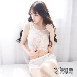 【久慕雅黛】睫毛全蕾絲背心短褲套裝(白色)   久慕雅黛