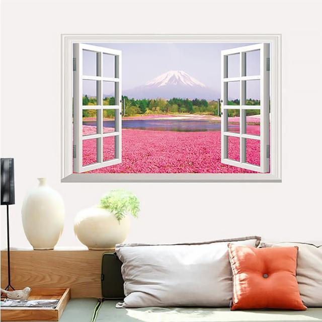 【半島良品】DIY無痕創意牆貼壁貼-假窗粉色花海_AY9234A(無痕壁貼 牆貼 壁貼紙 創意璧貼)