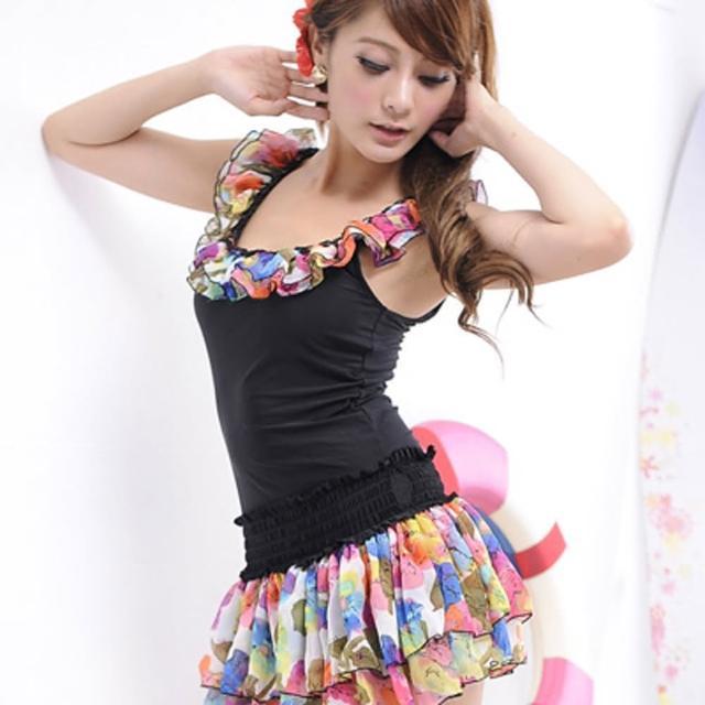 【Lady c.c.】花樣蛋糕顯瘦洋裝兩件套泳裝(黑)
