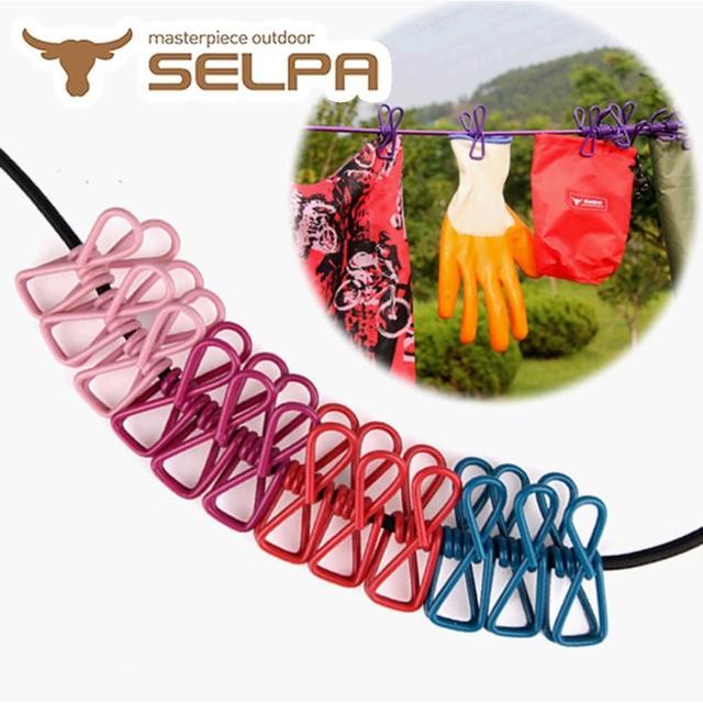【韓國SELPA】戶外曬衣組合-衣夾-曬衣繩-登山(五入組)