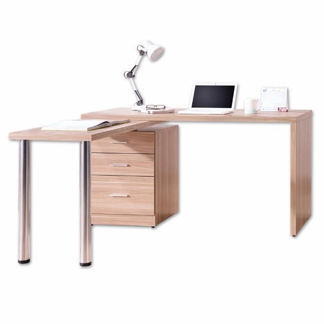 【Bernice】凱希4.9尺多功能旋轉書桌-工作桌-辦公桌(原木色)