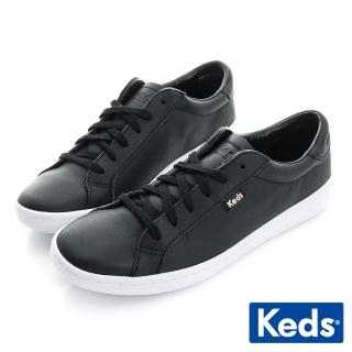 【Keds】復古運動皮質綁帶休閒鞋(黑皮)  Keds