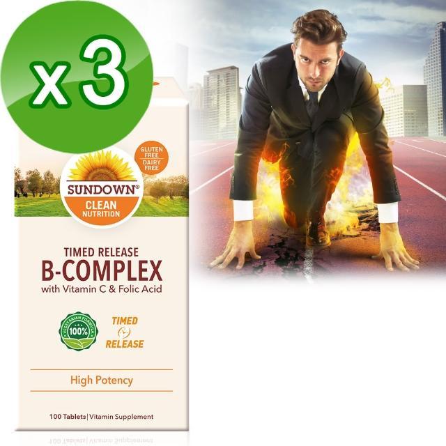 【美國Sundown日落恩賜】高單位緩釋型B群+C-B12強化配方100錠(3瓶組)