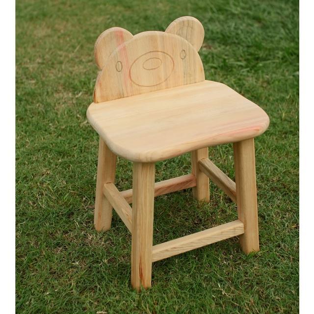 【MU LIFE 荒木雕塑藝品】可愛動物無垢檜木兒童椅(小熊)