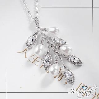 【伊飾晶漾】鋯石葉片*搖曳碎鑽珍珠項鍊   伊飾晶漾