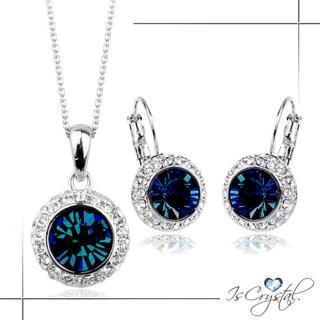 【伊飾晶漾】夜之眼*藍水晶圈式耳環/項鍊組   伊飾晶漾